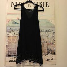 Black Boho Dress Black Boho Mini Dress - Size Small. Can be worn as a coverup or as a dress. Needs a slip if you're wearing it as a dress. Dresses Mini