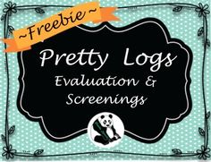 FREEBIE! Pretty Logs to keep track of Speech and Language Screenings and Evaluations! Included are 2 evaluation logs & 2 screening logs (I included 2 because I print front to back). I made these to add to one of the SLP Planners I bought! I thought they were pretty so I made them a FREEBIE for you!