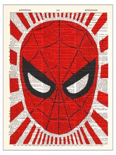 Spidey Man Spider Man Superhero vintage dictionary print book page art print beautifully UpCycled 8x10