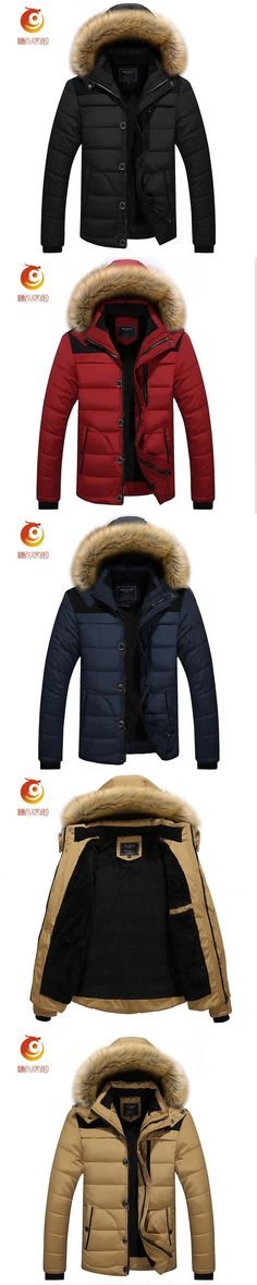 Autumn Winter Jacket Men Parkas Hooded Coat Male Casual Coats Quilted Wadded Padded Waistcoat Fashion Faux Fur Collar Size 4XL