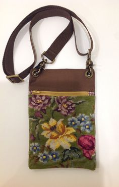 Vintage floral needlepoint repurposed into by ElizabethDomont