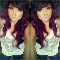 dark brown and violet red hair color #loreal maaayyybeee