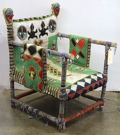 Antique Yoruba style, Nigeria beaded throne chair
