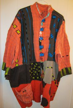Orange and Brown Cotton Upcycled Duster Coat fits by monapaints, $225.74