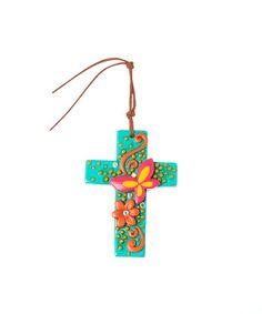 Look at this #zulilyfind! Blue & Pink Butterfly Cross Pendant by Oori Trading #zulilyfinds