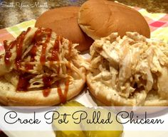 We served this crock pot pulled chicken on buns like barbeque sandwiches and had a few different sauces to choose from. Crock Pot Slow Cooker, Crock Pot Cooking, Crockpot Recipes, Cooking Recipes, Crockpot Dishes, Entree Recipes, Sandwich Recipes, South Your Mouth, Great Recipes