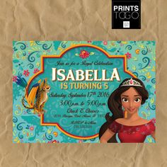 Elena of Avalor Invitation Elena of Avalor Birthday
