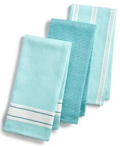 Martha Stewart Collection Waffle Weave Kitchen Towels, Created for Macy's - Blue Tiffany Blue Kitchen, Blue Kitchen Decor, Turquoise Kitchen, Kitchen Themes, Kitchen Linens, Kitchen Towels, Martha Stewart Kitchen, Blue Kitchen Accessories, Cherry Kitchen