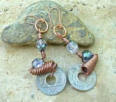 Half Penny Coin and Copper Twist Earrings  by KipajiPraiseJewelry, $18.00
