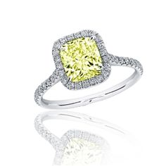 1.90 carat Cushion Fancy Yellow Diamond Engagement Ring in 18k White Gold