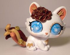 Littlest pet shop Cat * Golden Roses Kitty * Custom Hand Painted LPS OOAK #Hasbro