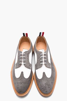 THOM BROWNE White nubuck grey suede longwing brogues