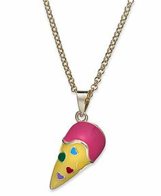 Silver Enameled Ice Cream Heart Necklace 12 or 14 in Girls Jewelry