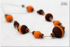SALE  Brown and Orange Crochet Natural Teething by MagazinIL, $24.00