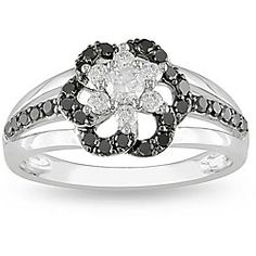@Overstock.com - Miadora 10k White Gold 1/2ct TDW Black and White Diamond Ring - Black and white diamond flower ring10-karat white gold jewelryClick here for ring sizing guide  http://www.overstock.com/Jewelry-Watches/Miadora-10k-White-Gold-1-2ct-TDW-Black-and-White-Diamond-Ring/4835324/product.html?CID=214117 $334.99