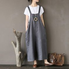 Summer Flax Wide Leg Jumpsuits Casual Gray Pants