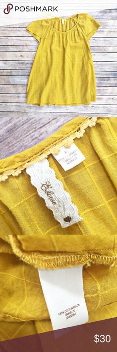 Anthropologie Eloise tunic top Eloise (Anthropologie) mustard yellow gauzy cotton tunic top, size small. Oversized with a textured windowpane print. Excellent condition. Anthropologie Tops Tunics