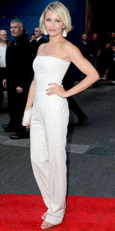 Look of the Day › May 23, 2012 WHAT SHE WORE For the London premiere of What to Expect When You're Expecting, Diaz paired her strapless Stella McCartney jumpsuit with the designer's faux leather clutch, satin sandals and striped chalcedony Kimberly McDonald earrings.