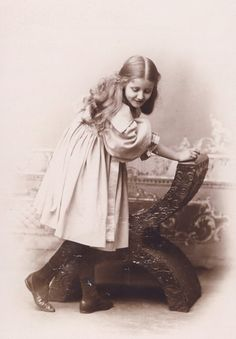 Little Girl in UNUSUAL POSE with Victorian CHAIR by NiepceGallery, $19.00