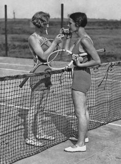 1930s tennis players... little do they know that puff might just slow them down...