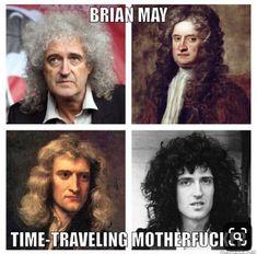 Isaac Newton=Brian May Queen Photos, Queen Pictures, Brian May, John Deacon, Freedy Mercury, Freddie Mecury, Rock Y Metal, Queen Meme, Roger Taylor