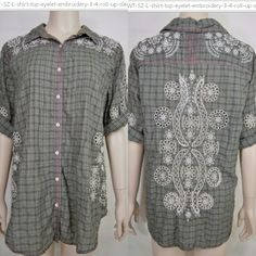 So cool... Johnny Was 3J Workshop shirt top ~  NWT, SZ L, eyelet embroidery, 3/4 roll-up sleeves.  http://TheCurrentFashion.com as a Featured Item , or at URL ... http://www.ebay.com/itm/Johnny-Was-3J-Workshop-NWT-SZ-L-shirt-top-eyelet-embroidery-3-4-roll-up-sleeves-/161883344911  #JohnnyWas #JohnnyWasClothing #3JWorkshop #embroidery #embroideredblouse #TheCurrentFashion #fashion #style