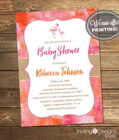 Tropical Baby Shower Invitation / Summer Baby Shower / Pink and Orange Flamingo / Digital File or PRINTED INVITATION by InvitingDesignStudio on Etsy
