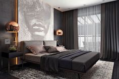 Usually I prefer copper with white but I really like this copper and dark dramatic look for this modern bedroom