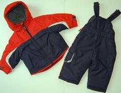 London Fog Snowsuit 12M Navy Blue Red Two Piece Hood Lined 12 Months #LondonFog #Snowsuit