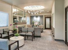 Right Dental Office Blue Medical Office Interior, Dental Office Decor, Medical Office Design, Modern Office Design, Modern Offices, Healthcare Design, Office Designs, Office Ideas, Waiting Room Decor