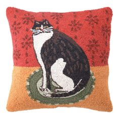Hand-hooked wool pillow with a cat motif.  Product: PillowConstruction Material: 100% Wool cover and polyester f...