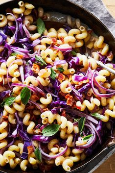 Creamy Pasta With Bacon and Red Cabbage Recipe - NYT Cooking Purple Cabbage Recipes, Fried Cabbage Recipes, Bacon Recipes, Pasta Recipes, Cooking Recipes, Bread Recipes, Cooking Tips, Kielbasa And Cabbage, Cooked Cabbage
