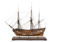 Model of HMS Yarmouth, a 70 gun ship of the 1745 Establishment.