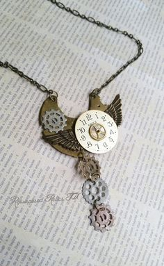 Steampunk necklace upcycled jewelry recycled by  RepurposedRelicsTX #etsy #handmade #epiconetsy