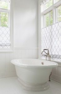 White Bathroom Flooring. White Bathroom With Freestanding Bath. White  Bathroom With Roman Shades. Bathroom Window CoveringsBathroom ...