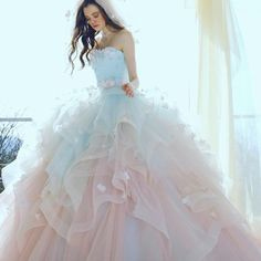 When pink meets blue adorned with sweet floral details, the result is this obsession-worthy Kiyoko Hata bridal gown! Quince Dresses, 15 Dresses, Pretty Dresses, Pastel Wedding Dresses, Bridal Gowns, Wedding Gowns, Modelos Fashion, Fairytale Dress, Fantasy Dress