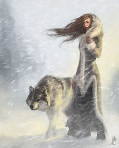 This reminds me of Katara from Avatar plus i love wolves