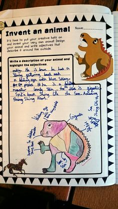 Animal Adjectives! A great adjective activity for children to start using adjectives. This a fantastic example of a mythical creature sent to us by one of our customers!