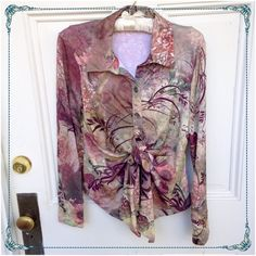 BOHO CHIC Button Down Shirt with Front Tie NWT never worn from the remaining inventory of a women's clothing boutique that had to close -ultra comfortable with a lot of stretch. -buttons half way down to a front tie BOHO CHIC Tops Button Down Shirts
