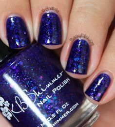 "KBShimmer: Fall 2013 Collection - 'Excuse Me, I Blurpled"" has a decadent blurple base with pink, blue and purple glitter."