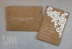 Darcy invitation with lace and white ink printing from www.lavastationery.com.au