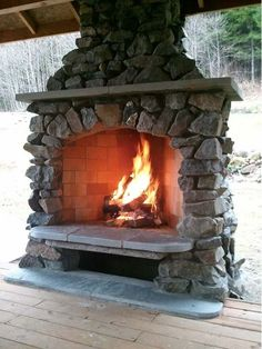 Custom Outdoor Fireplace - Home and Garden Design Ideas. Love this!