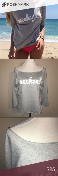"""Off the shoulder """"Weekend"""" top More to come boutique Tops Tees - Long Sleeve"""