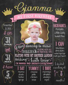 Princess, Gold, Pink First Birthday Chalkboard Poster DIGITAL FILE