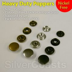 Heavy duty poppers (Snap fastener Press studs, rivets) #sewing, Leather #craft, Clothing.  http://r.ebay.com/GFMuwY