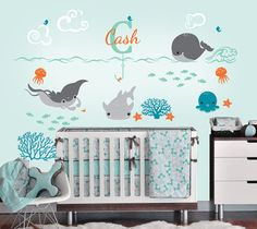 Under the Sea Decal with Monogram Custom Name Vinyl Decal, Ocean Friends Nursery Wall Decal for a Nautical Nursery, Kids or Childrens Room