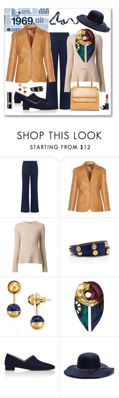 """The Row Calixco Leather Blazer Look"" by romaboots-1 ❤ liked on Polyvore featuring Gap, Diane Von Furstenberg, The Row, Tory Burch, Burberry and Estée Lauder"