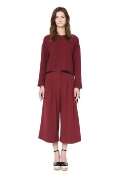 Style Mafia Ann Pants - Burgundy Flowy Crop Pants