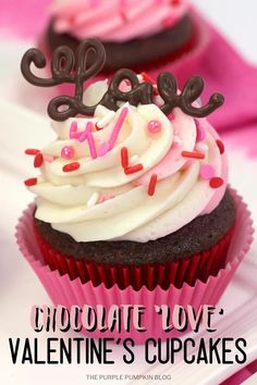 How adorable are these Valentine's Day Cupcakes? Make these sweet love cupcakes for your sweet love! Chocolate cupcakes are swirled with two-tone frosting, sprinkles, and the world love piped out in chocolate. They're fun to make and delicious to eat! #ValentinesDayCupcakes #ChocolateCupcakes #Cupcakes #Recipes #Baking #ThePurplePumpkinBlog #ValentinesDay #SweetTreats #LoveCupcakes #Chocolate