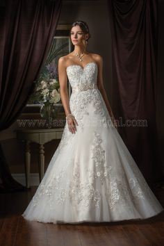 Jasmine Couture Wedding Dress Style T172010 in Ivory-Gold. The intricately  embroidered lace of 23bf87db37a3